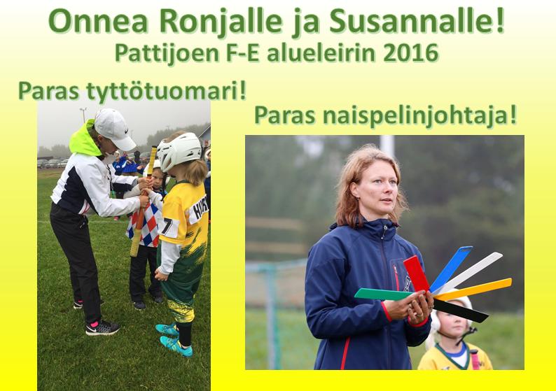 Pattijoen FE alueleiri 2016 palkitut